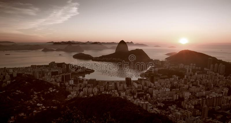 Panorama of Rio de Janeiro city and Sugarloaf mountain. Brazil stock images
