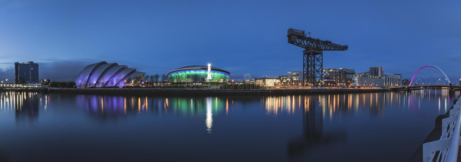 Panorama of the River Clyde including the SSE Hydro, SEC Armadillo, SEC Centre and the Arc royalty free stock photo