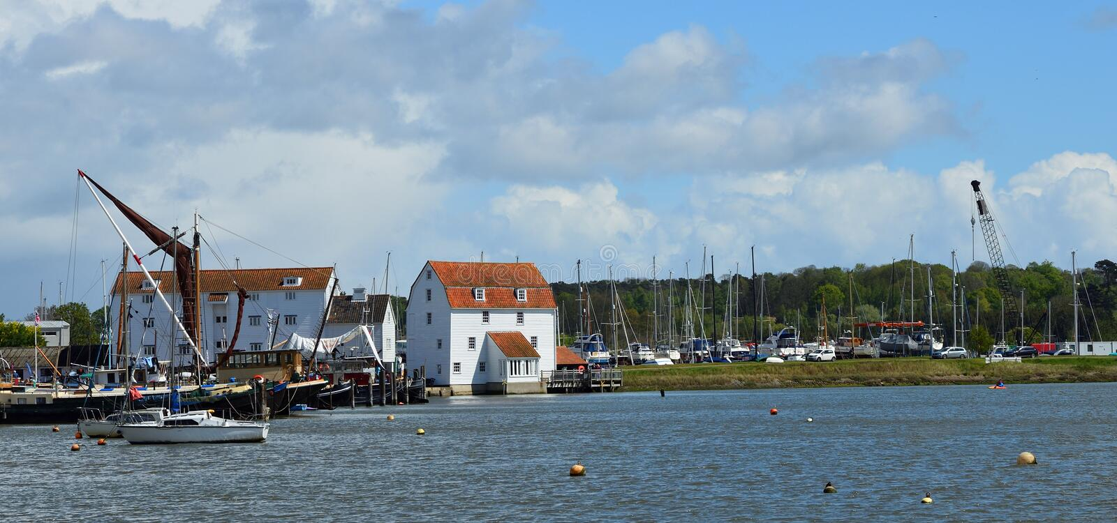 Panorama of the river Deben at Woodbridge with Tide Mill and Boats. Panorama of the river Deben at  Woodbridge with Tide Mill and Boats royalty free stock photos