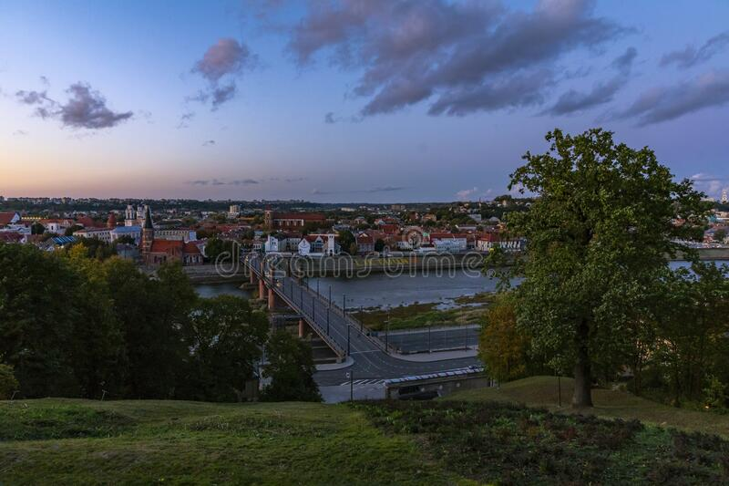Panorama of the river and town of Kaunas. stock photography
