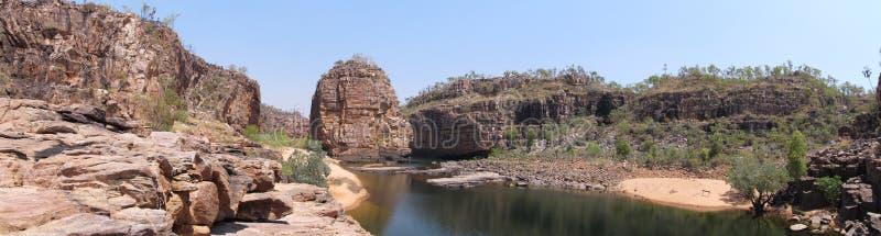 Panorama - roche de forgeron, parc national de Nitmiluk, territoire du nord, Australie images stock