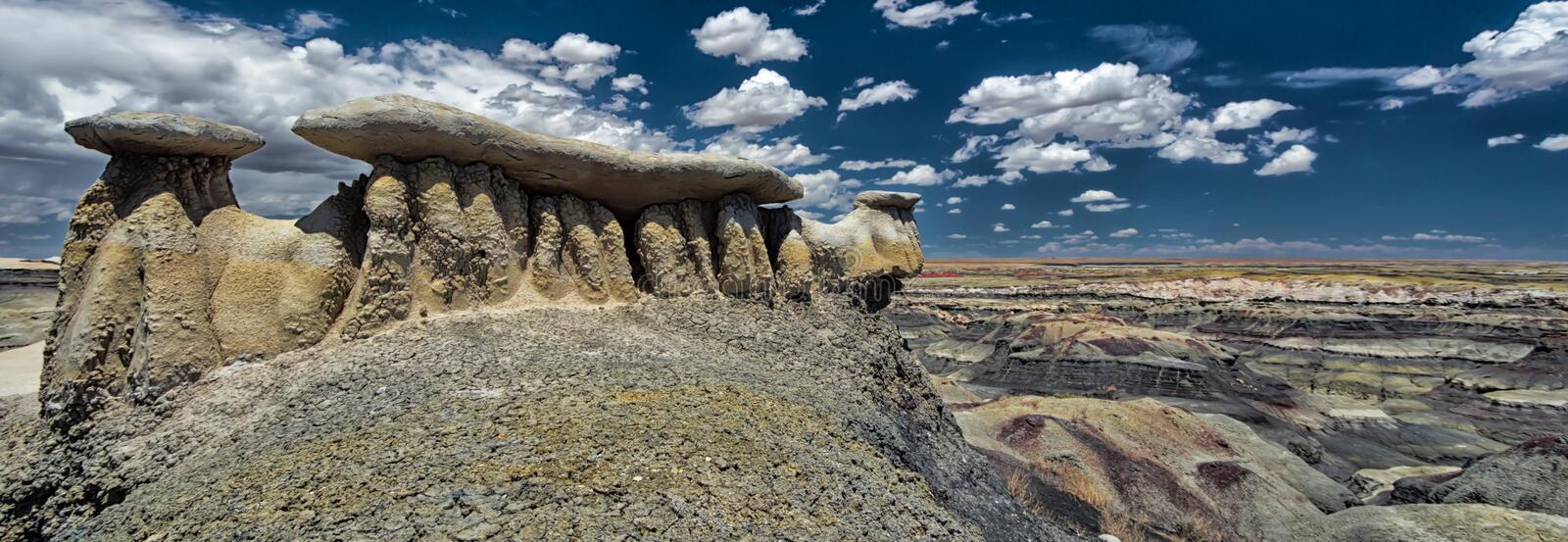 Panorama rock desert landscape in northern New Mexico stock photo