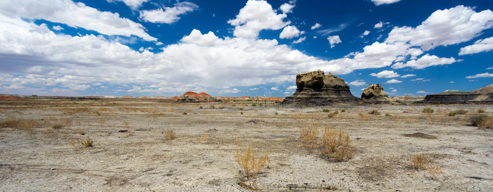 Panorama rock desert landscape in northern New Mexico royalty free stock photography