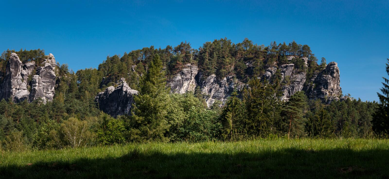 Panorama of a rock formation in the Elbe Sandstone Mountains in Saxon Switzerland. Germany stock photo