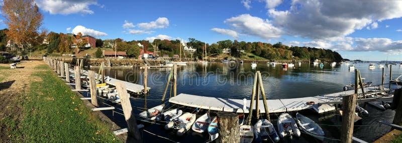 Panorama of Rockport Marine Harbor in Maine royalty free stock image