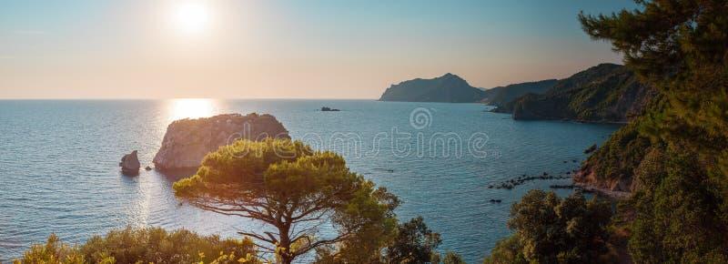 Panorama of rocky coast, Corfu, Greece royalty free stock photos