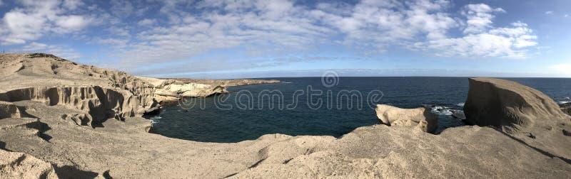 Panorama from a rocky coast. Of San Miguel de Tajao in Tenerife stock photos