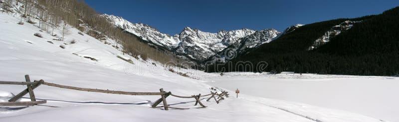 Panorama- Rocky Mountain Snow Covered Scenic royaltyfri fotografi