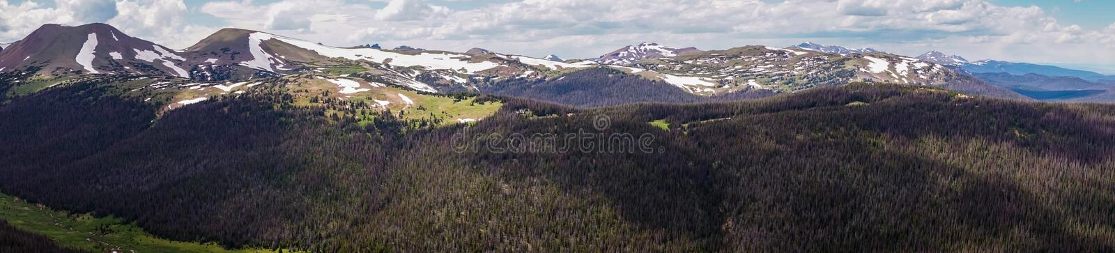 Panorama of the Rocky Mountains. Travel to the Rocky Mountain National Park. Colorado, United States. Summer high mountain valley. Rocky Mountain National Park royalty free stock photography