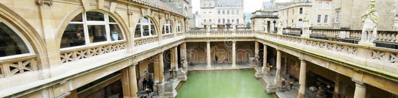 Panorama Roman Bath, bad royaltyfria bilder
