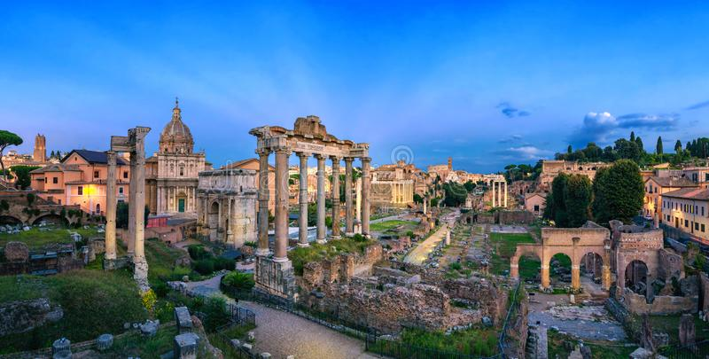 Panorama of Roman Forum at dusk, Rome royalty free stock photography
