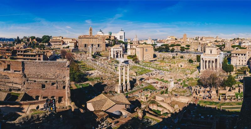 Panorama of the Roman Forum Foro Romano and Roman ruins as see royalty free stock photography