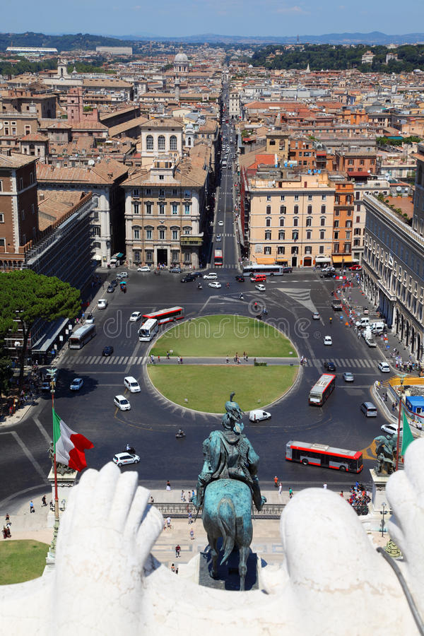 Panorama Of Rome From Altar Of Fatherland In Rome Stock Photo