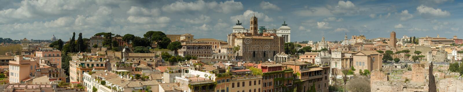 Panorama of Rome as seen from the Palatine hill. Italy royalty free stock photo
