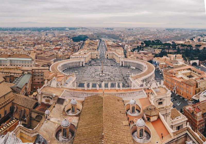 Panorama of Rome Saint Peter`s Square as seen from the air stock image