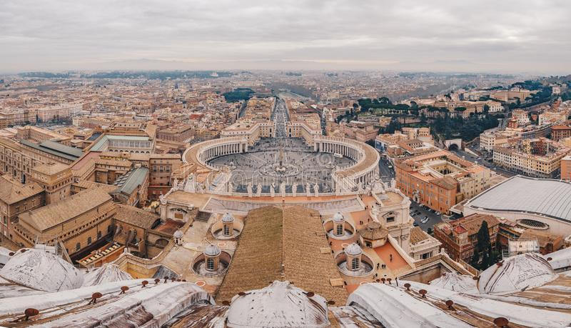 Panorama of Rome Saint Peters Square as seen from the air royalty free stock photography