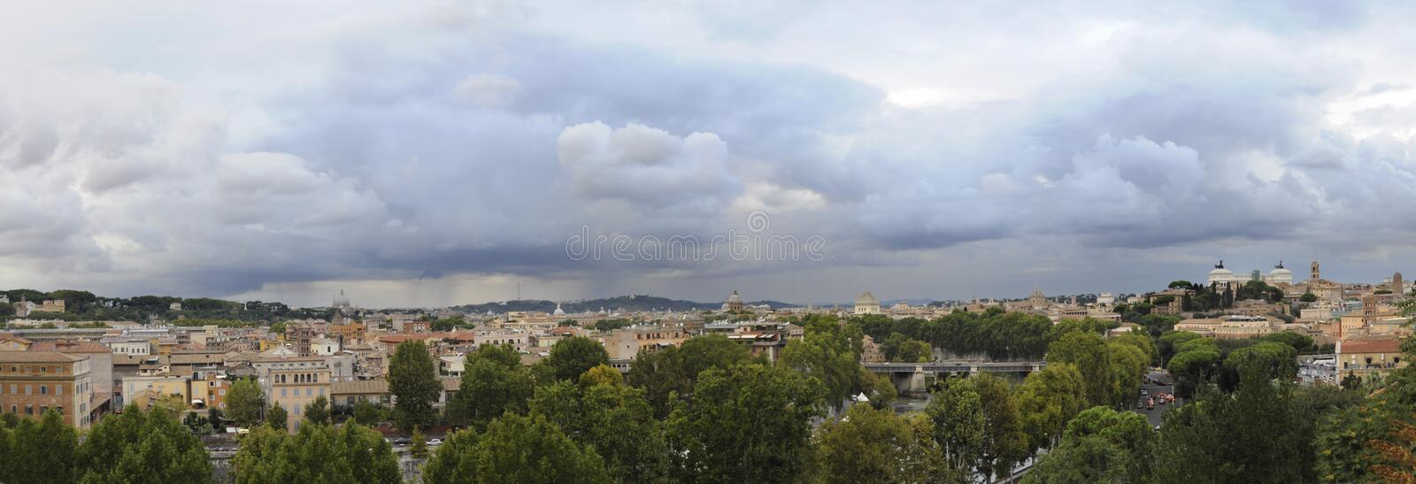 Panorama of Rome under cloudy sky