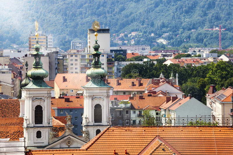 Panorama roof view of Graz, Austria. Top view of the city of Graz in Austria. Graz, formerly known as Gratz, is the capital of Styria and second-largest city royalty free stock image