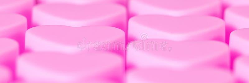Panorama, rosa Herz formte Hintergrund, Konzeptliebe und romantisches lizenzfreies stockfoto