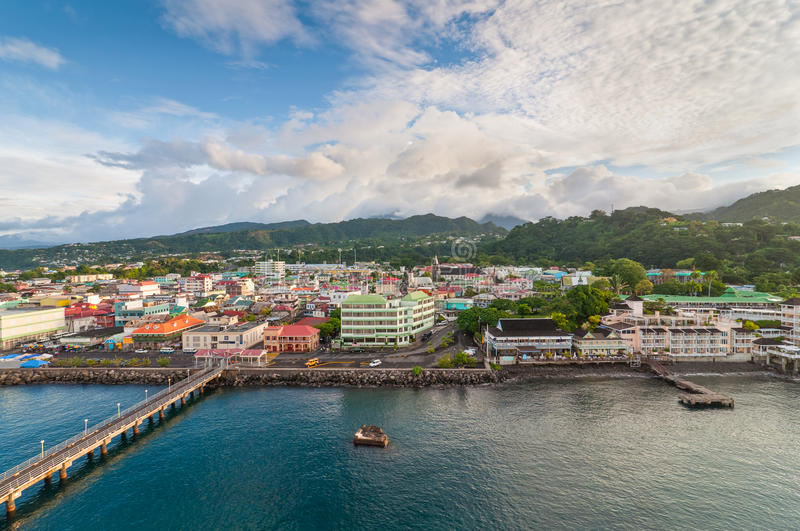 Panorama of Roseau, Dominica stock photography