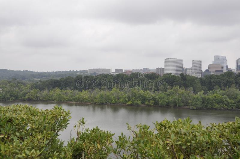 Panorama with Rosselyn Skyline and Potomac River from Washington District of Columbia USA royalty free stock images