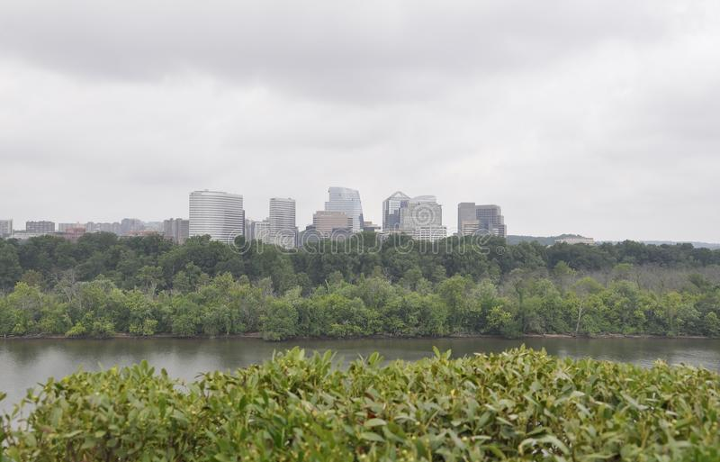 Panorama with Rosselyn Skyline and Potomac River from Washington District of Columbia USA stock images