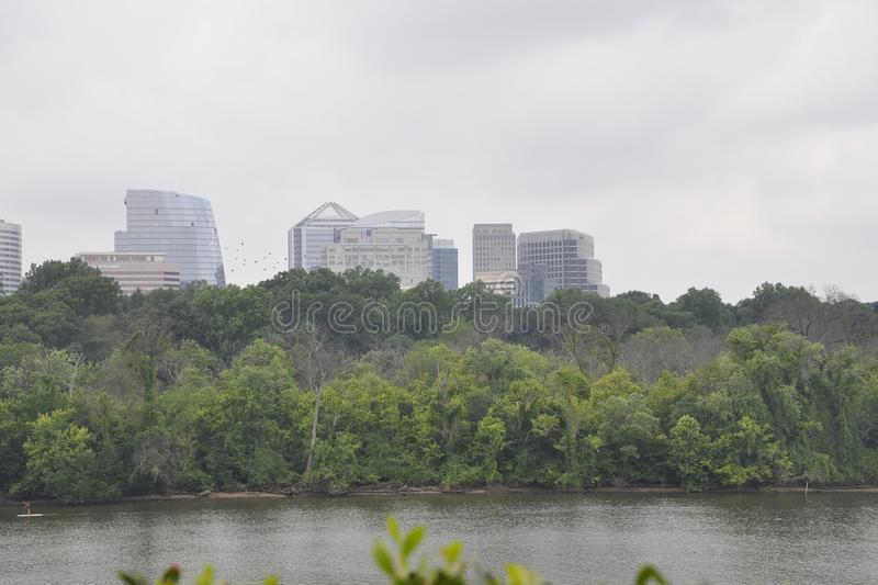 Panorama with Rosselyn Skyline and Potomac River from Washington District of Columbia USA royalty free stock photo