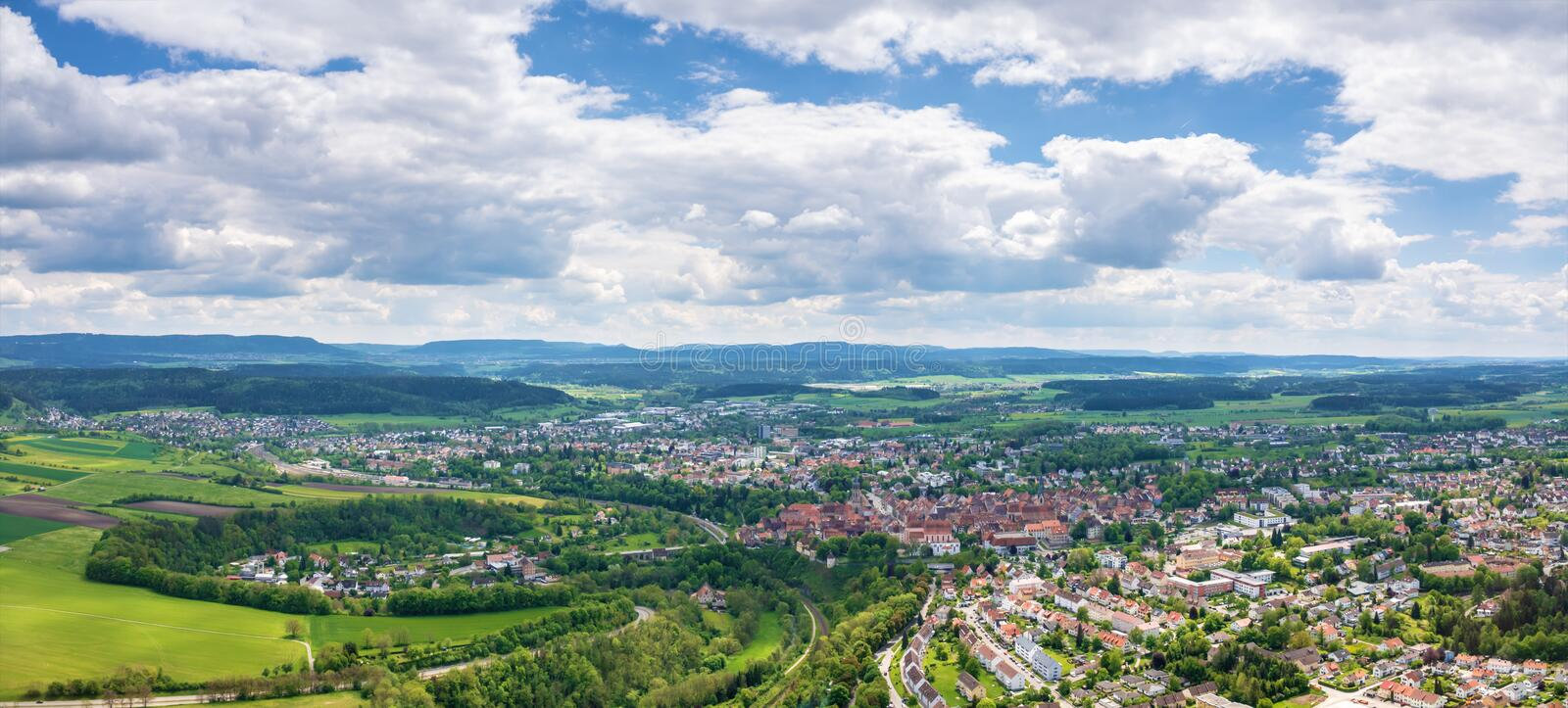panorama in Rottweil Duitsland stock foto
