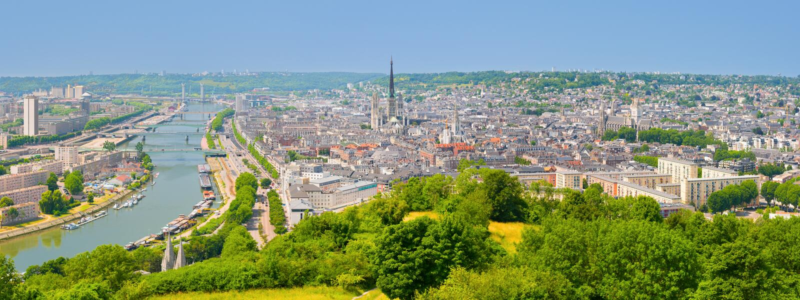 Panorama of Rouen stock photos