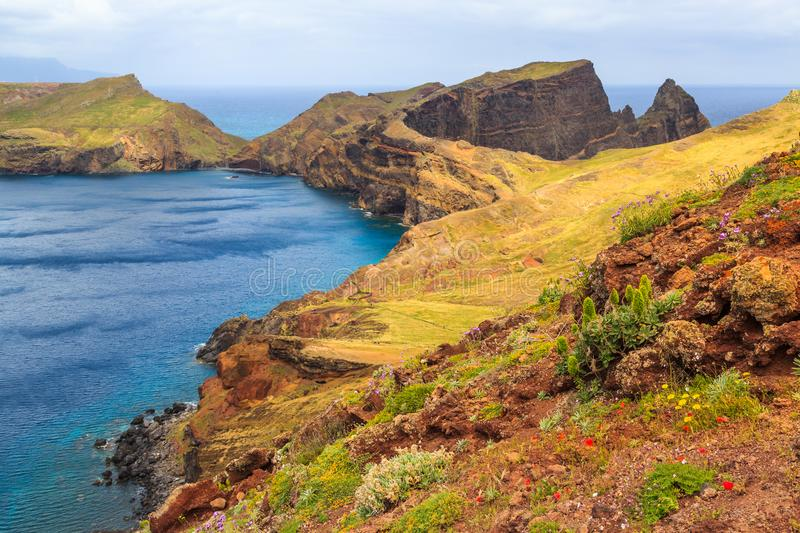 Panorama of rough coastline in Madeira, nature reserve Ponta de. Panorama of rough coastline in Portugal, Madeira, nature reserve Ponta de Sao Lourenco stock images