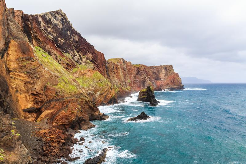 Panorama of rough coastline in Madeira, nature reserve Ponta de. Panorama of rough coastline in Portugal, Madeira, nature reserve Ponta de Sao Lourenco stock photography