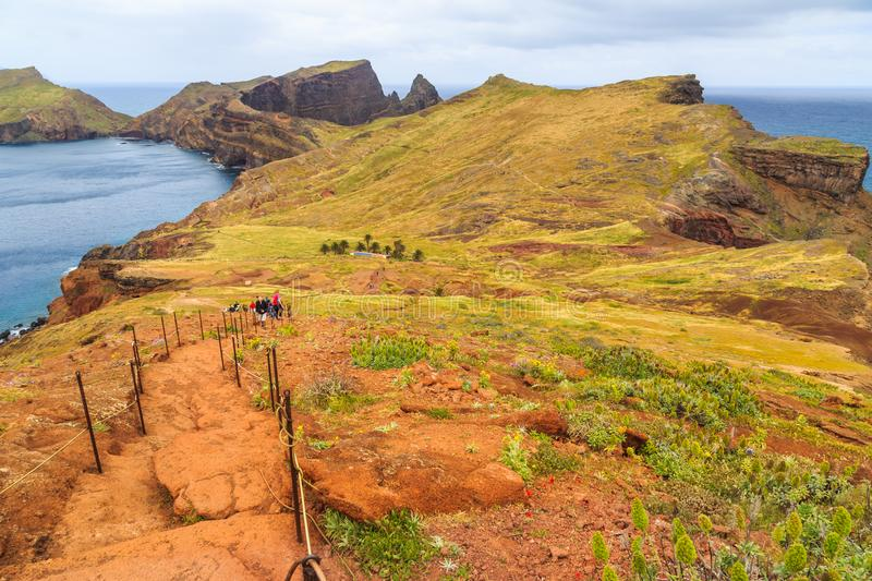 Panorama of rough coastline in Madeira, nature reserve Ponta de stock photo