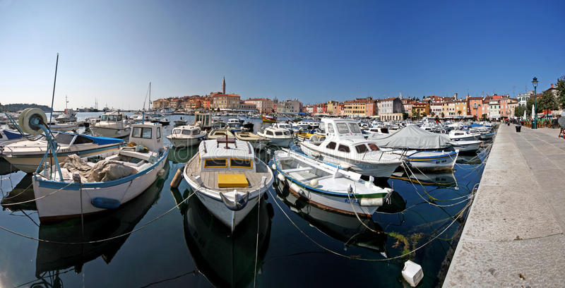 Panorama of Rovinj port royalty free stock photo