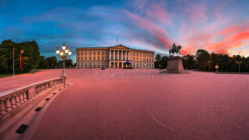 Panorama of the Royal Palace and Statue of King Karl Johan at Sunrise, Oslo, Norway royalty free stock image
