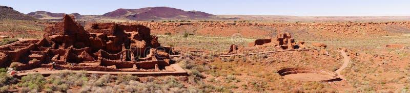Panorama, ruínas do povoado indígeno de Wupatki foto de stock royalty free