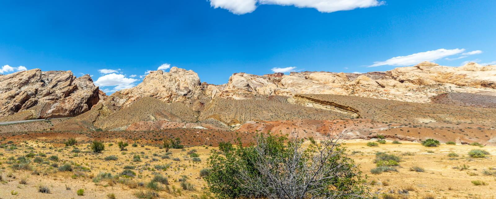 Mesas and Desert Canyons. A panorama rugged desert landscape in Utah shows different colored rocks, sands, and scrub plants stock images