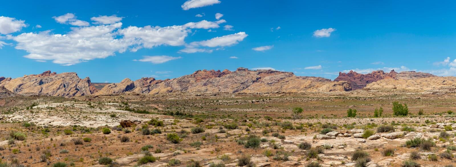 Mesas and Desert Canyons. A panorama rugged desert landscape in Utah shows different colored rocks, sands, and scrub plants stock photos