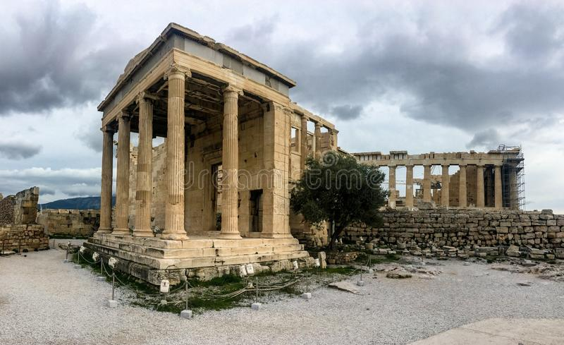 Panorama of ruins of Arrephorion temple in Acropolis, Athens, Greece stock photography