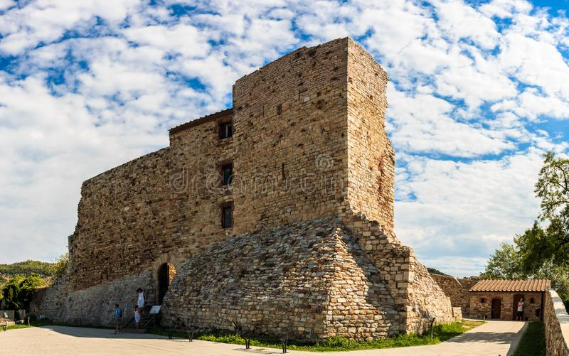 Panorama of the ruins of the Rocca Aldobrandesca in Suvereto, Tuscany, Italy stock image