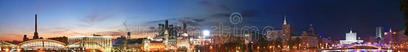 panorama- russia för moscow natt sikt royaltyfria bilder