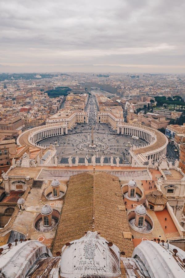 Panorama Rzym świętego Peter ` s kwadrat jak widzieć od powietrza fotografia royalty free