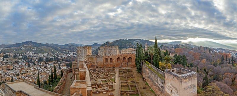 Panorama's over Alhambra stock afbeeldingen