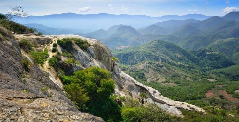 Panorama's van de bergen van de hete lentes Hierve Gr stock afbeeldingen