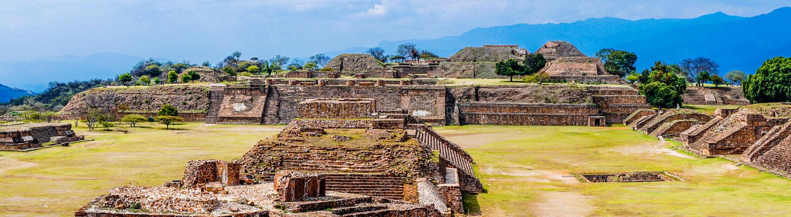 View on Panorama Of Sacred Site Monte Alban In Mexico. Panorama Of Sacred Site Monte Alban In Mexico stock image