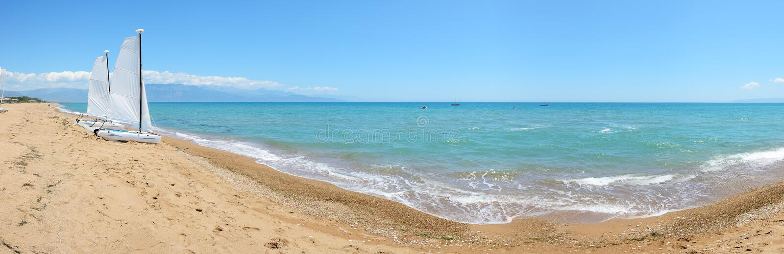 Download Panorama Of Sail Yachts On The Beach On Ionian Sea Stock Photo - Image: 32953720