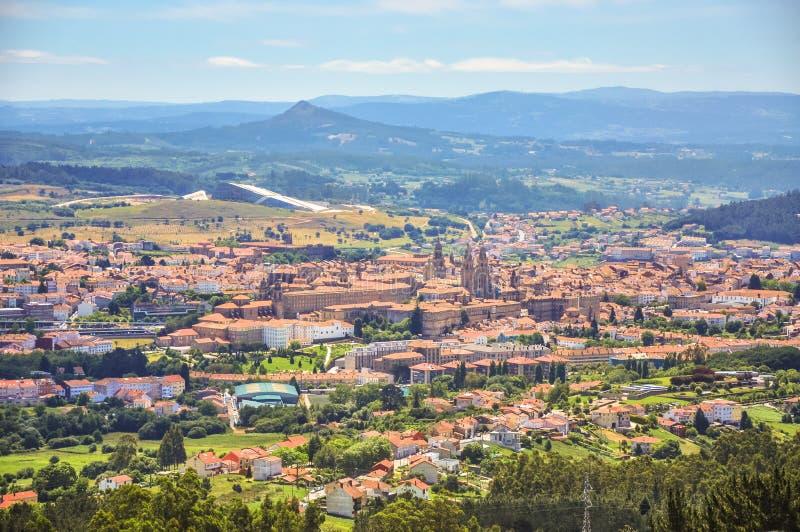 Panorama of saint city Santiago de Compostela. St James of Compostella is the capital of the autonomous community of Galicia, in. Northwestern Spain stock photos