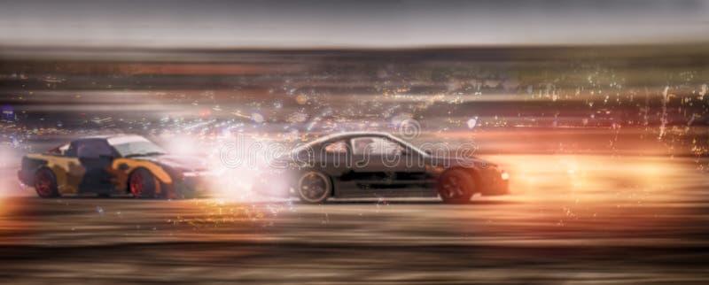 Panorama samochodu rozmyta bitwa dryfuje z błyskotliwością dalej speen ślad obrazy stock