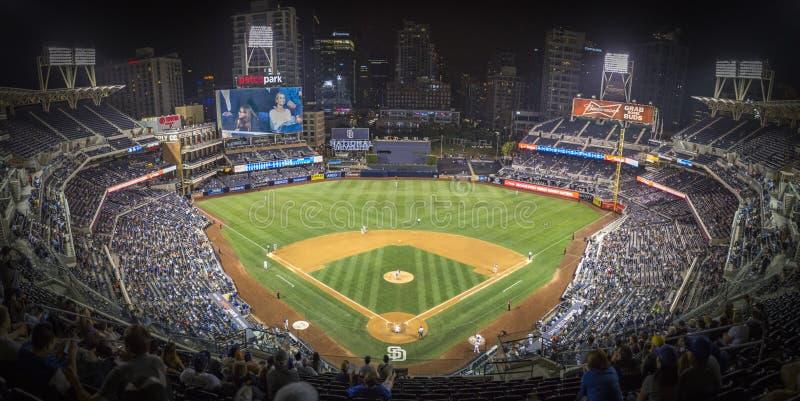 Panorama of San Diego Stadium during baseball game royalty free stock photos