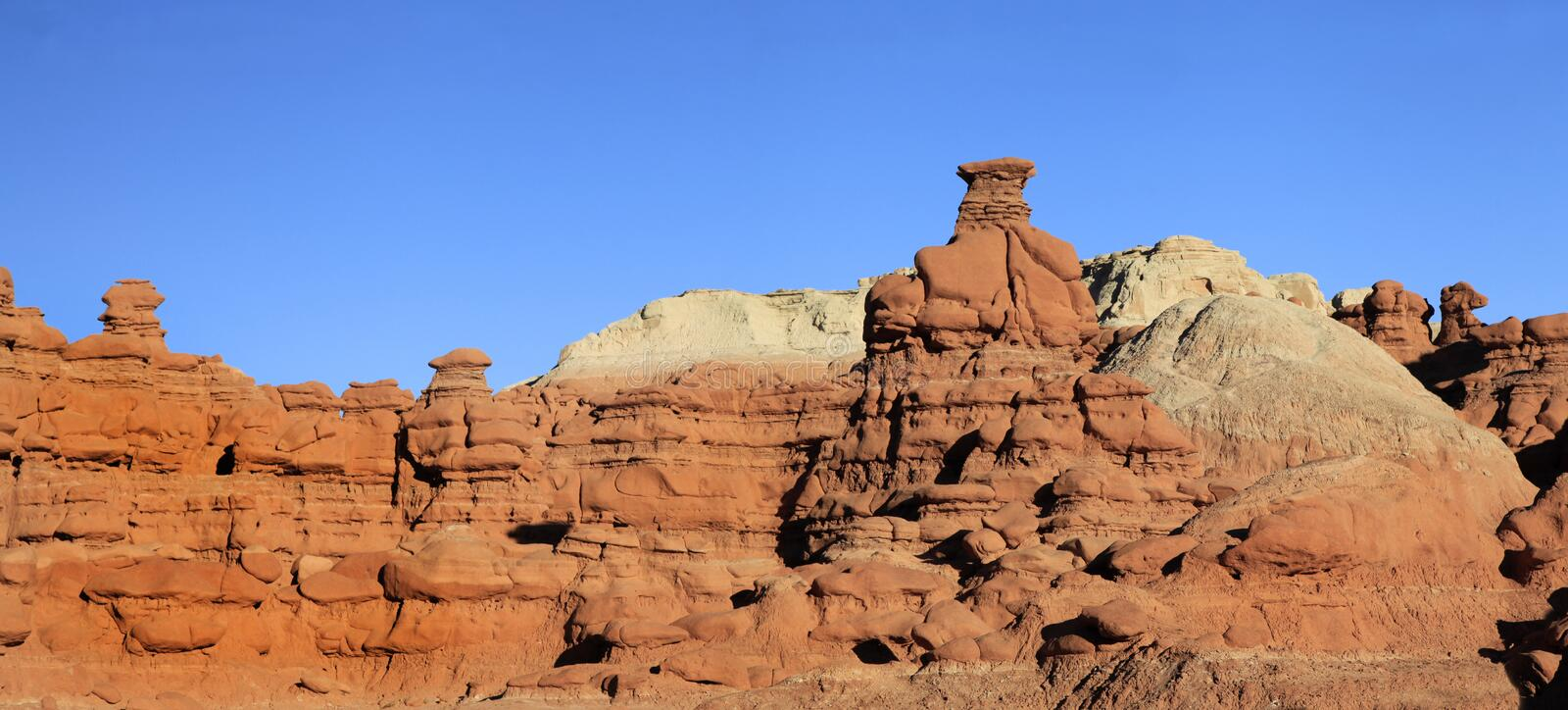Panorama of Sandstone formations at Goblin Valley State Park, Ut royalty free stock photo