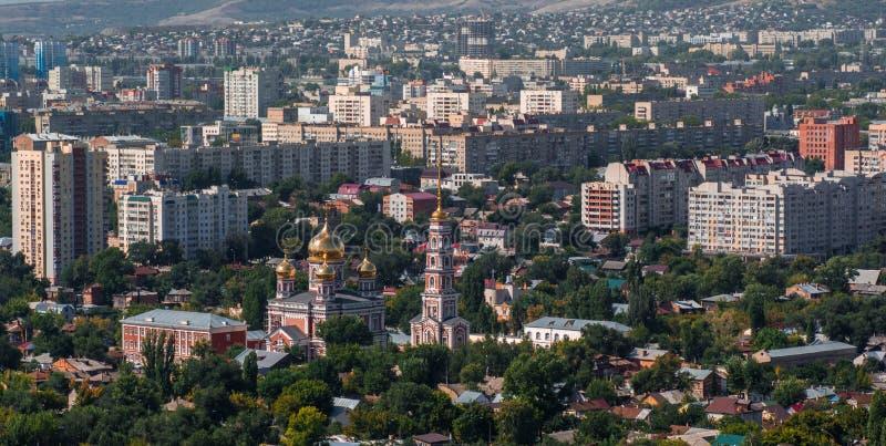 panorama- saratov för höststad sikt arkivbild